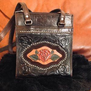 American West Brown Leather Shoulder Bag Purse